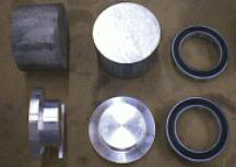 The Billet pieces that I made into hubs